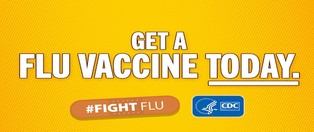 Social media graphic with yellow background and white text reads Get a Flu Vaccine Today.