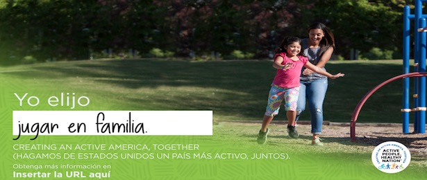 Spanish social media ad includes a color photo of a Hispanic mom and young daughter playing on playground equipment.